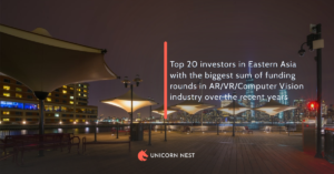 Top 20 investors in Eastern Asia with the biggest sum of funding rounds in AR/VR/Computer Vision industry over the recent years