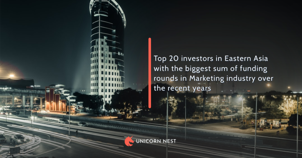 Top 20 investors in Eastern Asia with the biggest sum of funding rounds in Marketing industry over the recent years