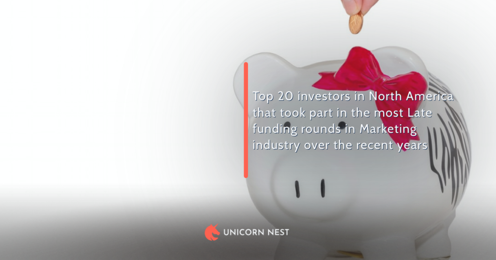 Top 20 investors in North America that took part in the most Late funding rounds in Marketing industry over the recent years