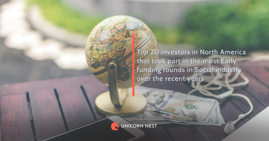 Top 20 investors in North America that took part in the most Early funding rounds in Social industry over the recent years
