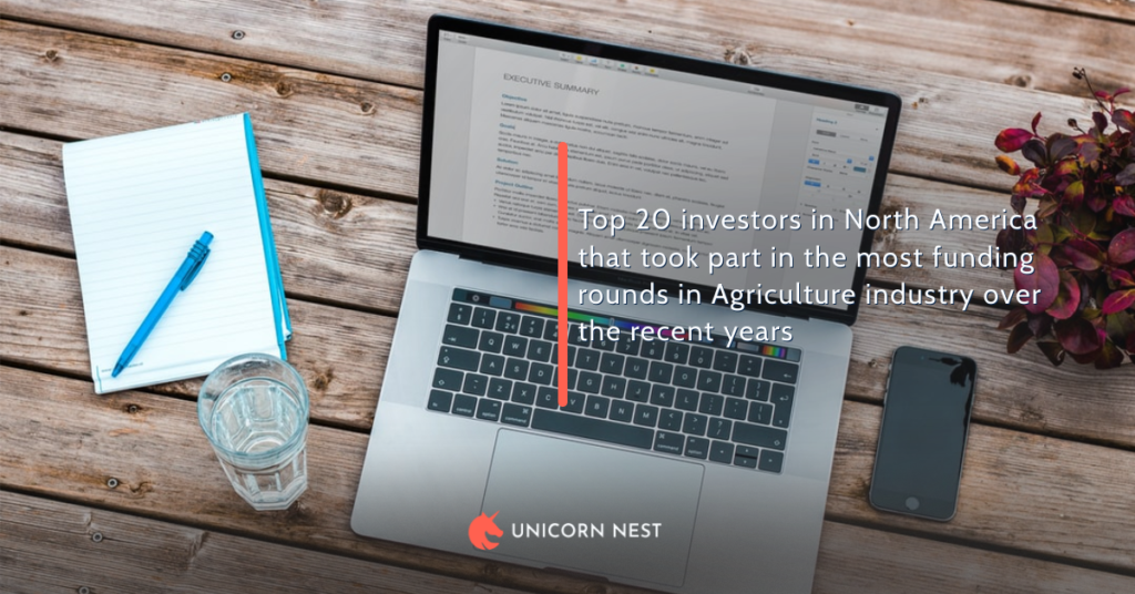 Top 20 investors in North America that took part in the most funding rounds in Agriculture industry over the recent years