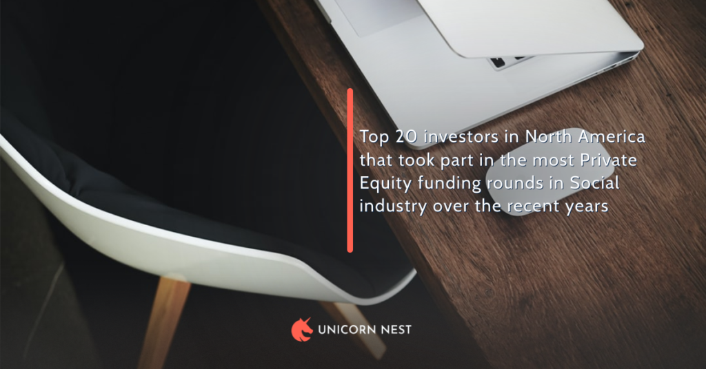 Top 20 investors in North America that took part in the most Private Equity funding rounds in Social industry over the recent years