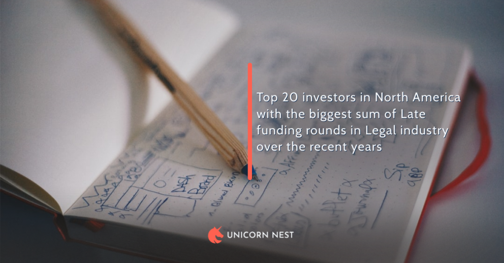 Top 20 investors in North America with the biggest sum of Late funding rounds in Legal industry over the recent years