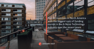 Top 20 investors in North America with the biggest sum of funding rounds in Bio & Nano Technology industry over the recent years