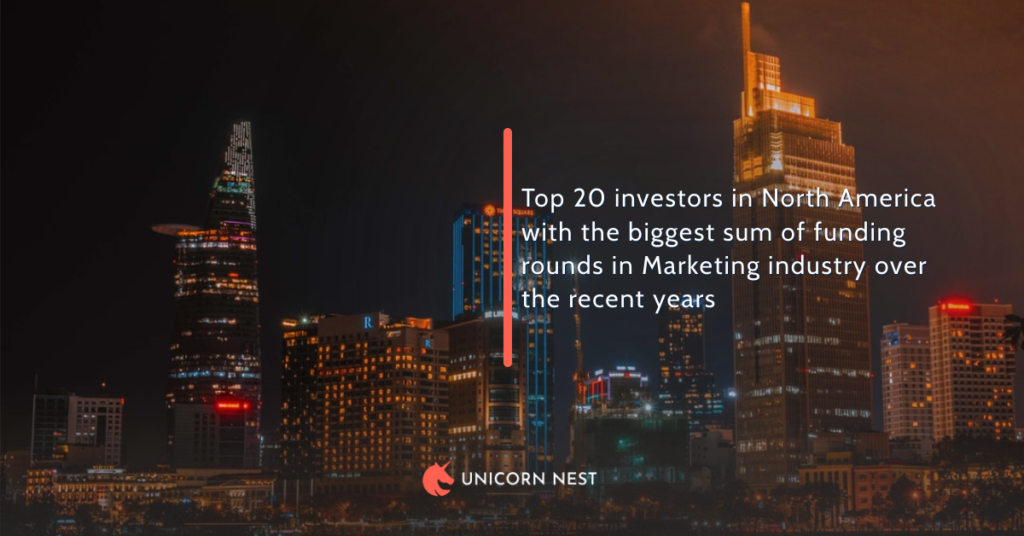 Top 20 investors in North America with the biggest sum of funding rounds in Marketing industry over the recent years