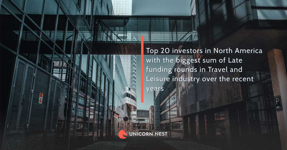 Top 20 investors in North America with the biggest sum of Late funding rounds in Travel and Leisure industry over the recent years
