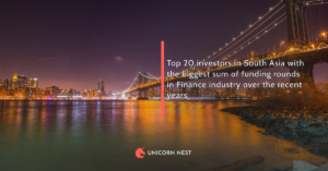 Top 20 investors in South Asia with the biggest sum of funding rounds in Finance industry over the recent years
