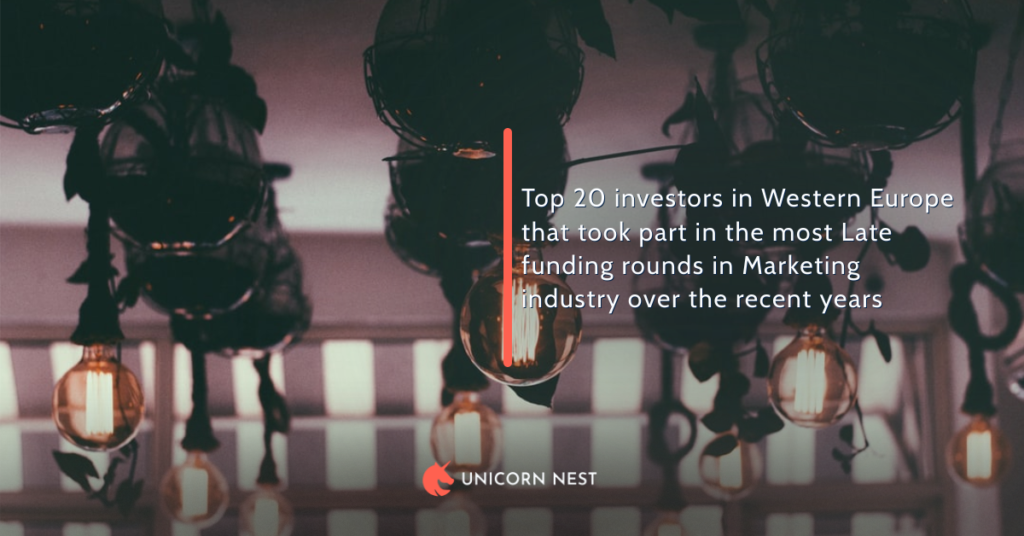 Top 20 investors in Western Europe that took part in the most Late funding rounds in Marketing industry over the recent years