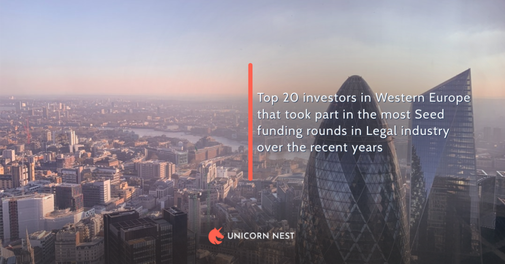 Top 20 investors in Western Europe that took part in the most Seed funding rounds in Legal industry over the recent years