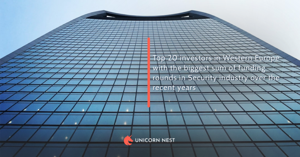 Top 20 investors in Western Europe with the biggest sum of funding rounds in Security industry over the recent years