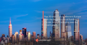 Top 20 investors in Western Europe with the biggest sum of funding rounds in Legal industry over the recent years