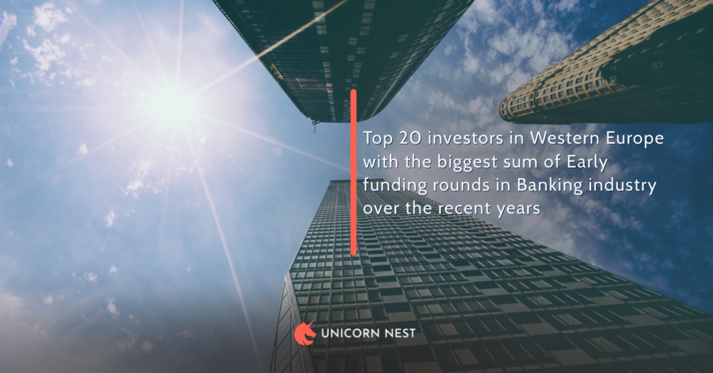 Top 20 investors in Western Europe with the biggest sum of Early funding rounds in Banking industry over the recent years