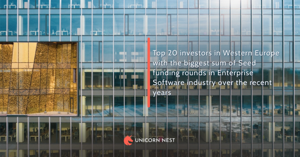 Top 20 investors in Western Europe with the biggest sum of Seed funding rounds in Enterprise Software industry over the recent years