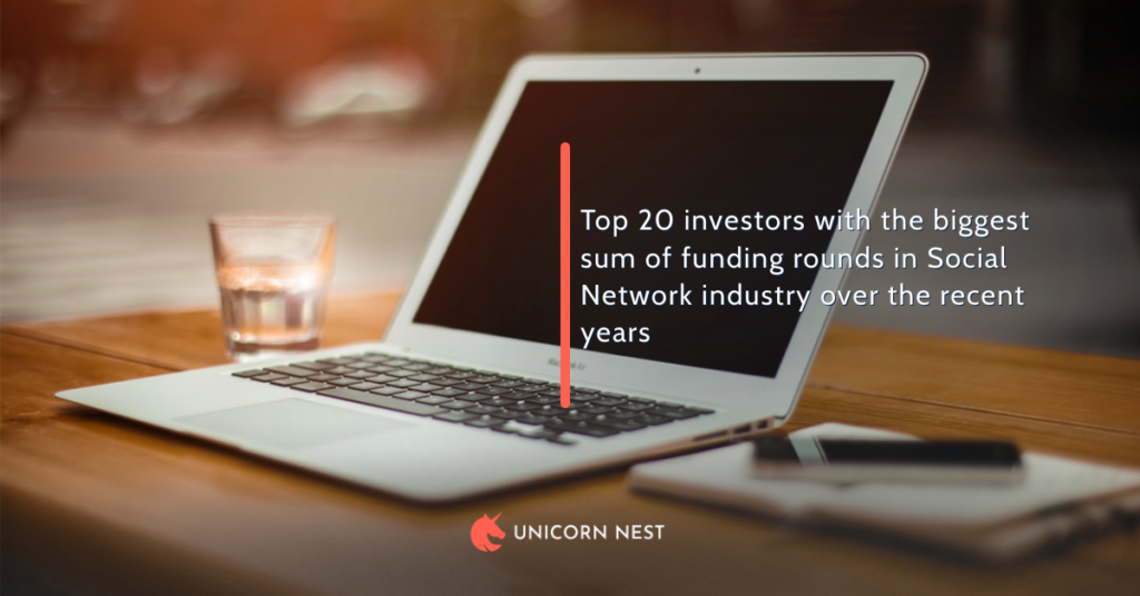 Top 20 investors with the biggest sum of funding rounds in Social Network industry over the recent years
