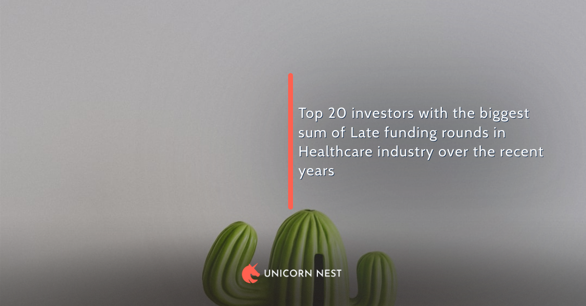 Top 20 investors with the biggest sum of Late funding rounds in Healthcare industry over the recent years