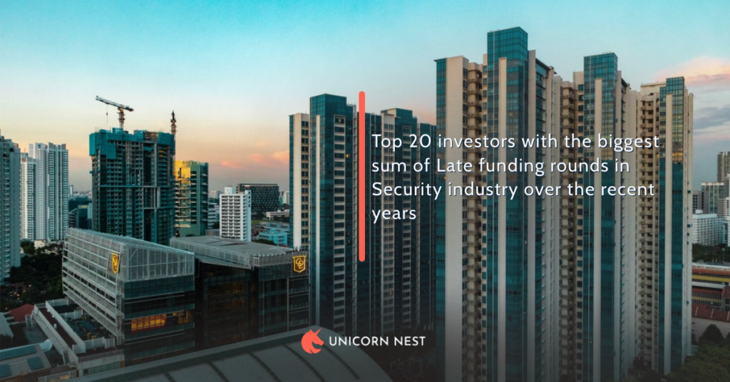 Top 20 investors with the biggest sum of Late funding rounds in Security industry over the recent years