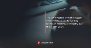 Top 20 investors with the biggest sum of Private Equity funding rounds in Healthcare industry over the recent years