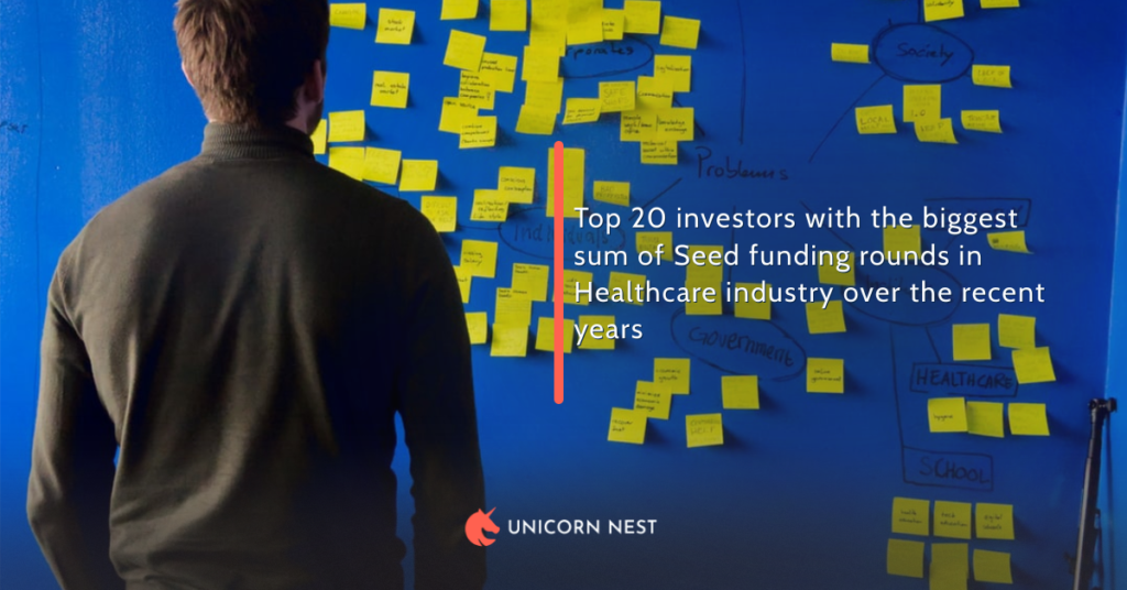 Top 20 investors with the biggest sum of Seed funding rounds in Healthcare industry over the recent years