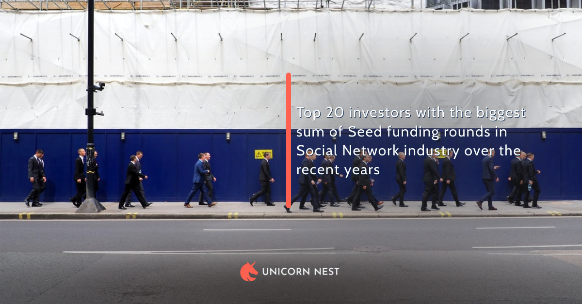 Top 20 investors with the biggest sum of Seed funding rounds in Social Network industry over the recent years