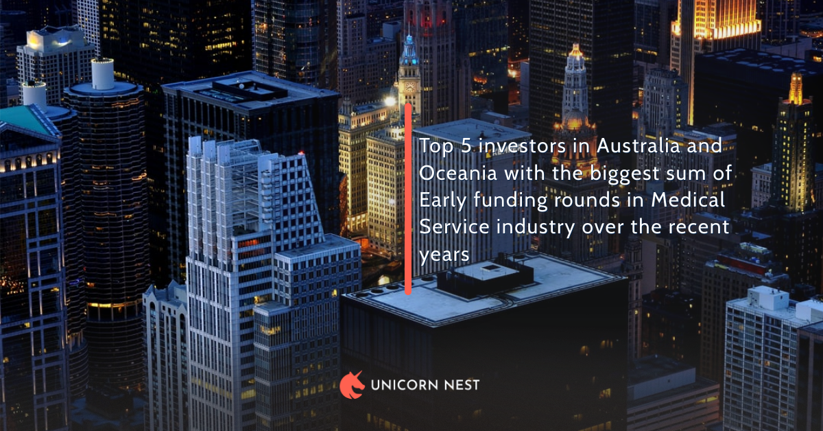 Top 5 investors in Australia and Oceania with the biggest sum of Early funding rounds in Medical Service industry over the recent years
