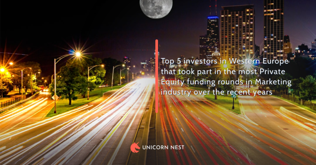 Top 5 investors in Western Europe that took part in the most Private Equity funding rounds in Marketing industry over the recent years