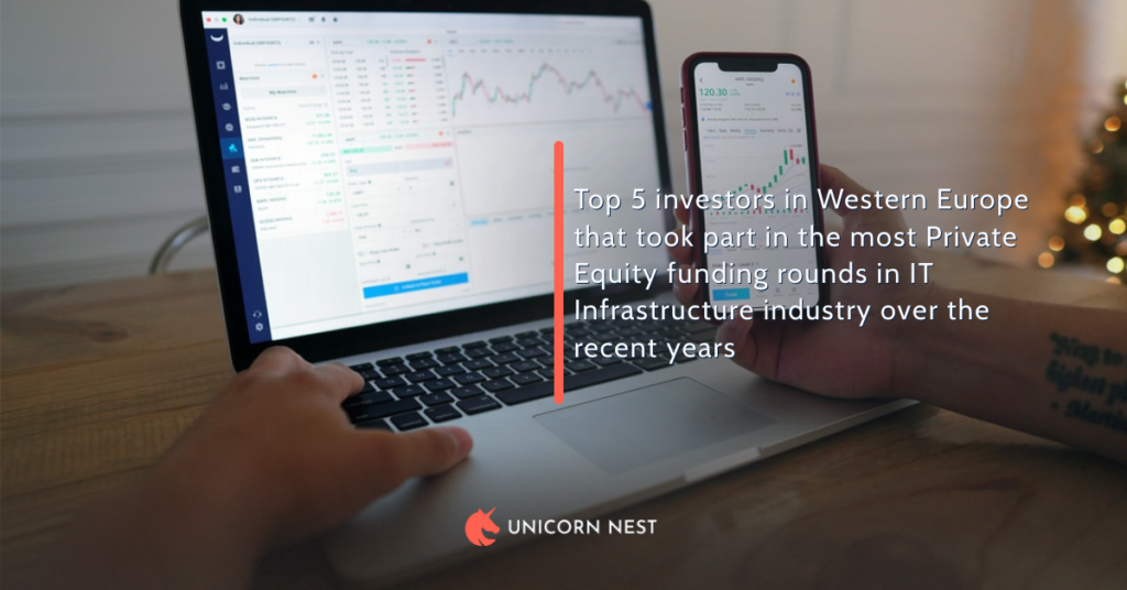 Top 5 investors in Western Europe that took part in the most Private Equity funding rounds in IT Infrastructure industry over the recent years
