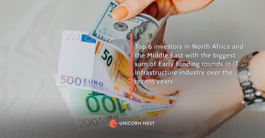 Top 6 investors in North Africa and the Middle East with the biggest sum of Early funding rounds in IT Infrastructure industry over the recent years