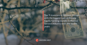 Top 9 investors in Western Europe with the biggest sum of Private Equity funding rounds in Medical Service industry over the recent years