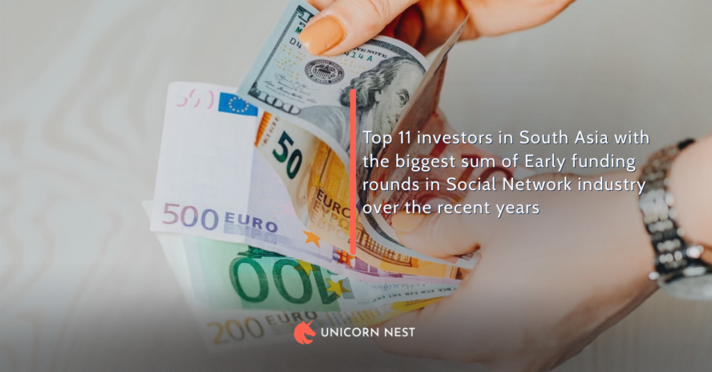 Top 11 investors in South Asia with the biggest sum of Early funding rounds in Social Network industry over the recent years
