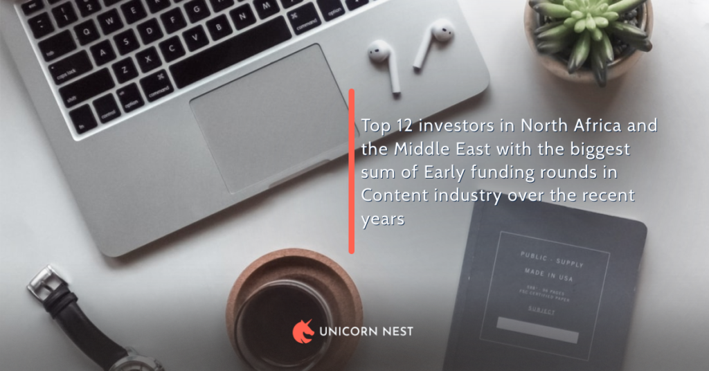 Top 12 investors in North Africa and the Middle East with the biggest sum of Early funding rounds in Content industry over the recent years