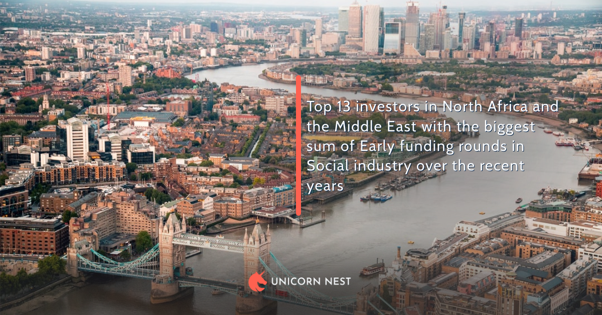 Top 13 investors in North Africa and the Middle East with the biggest sum of Early funding rounds in Social industry over the recent years
