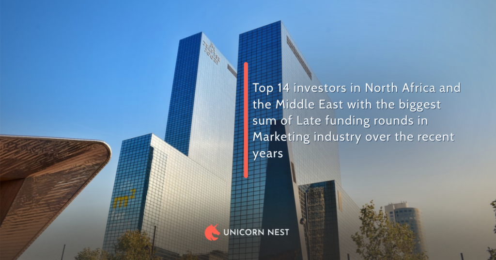 Top 14 investors in North Africa and the Middle East with the biggest sum of Late funding rounds in Marketing industry over the recent years