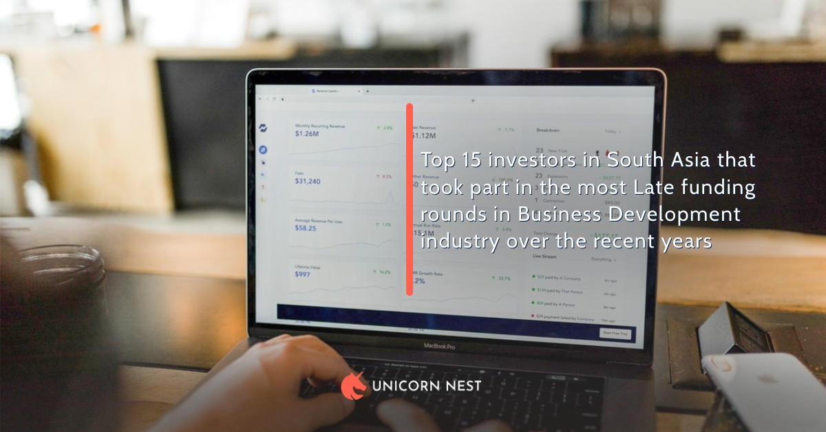 Top 15 investors in South Asia that took part in the most Late funding rounds in Business Development industry over the recent years