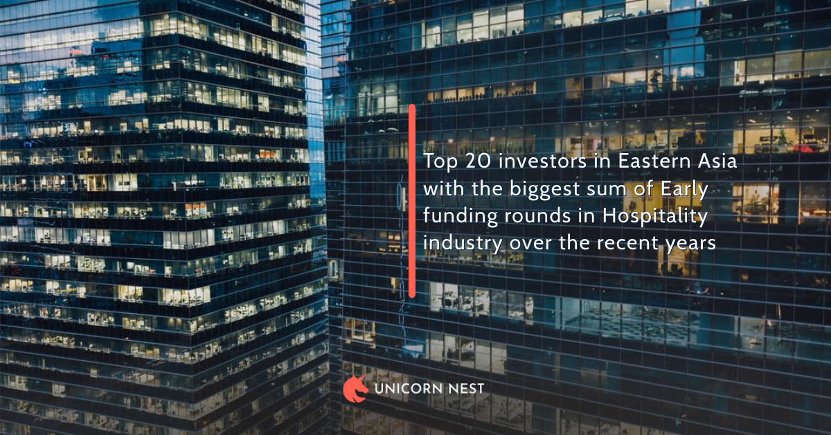 Top 20 investors in Eastern Asia with the biggest sum of Early funding rounds in Hospitality industry over the recent years