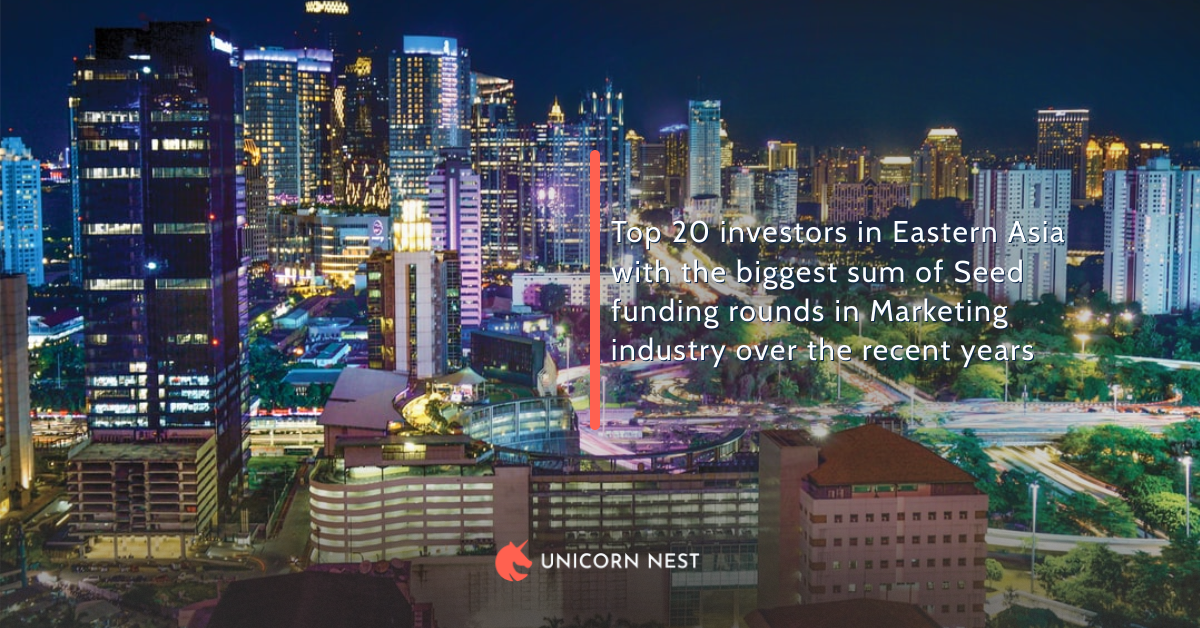 Top 20 investors in Eastern Asia with the biggest sum of Seed funding rounds in Marketing industry over the recent years