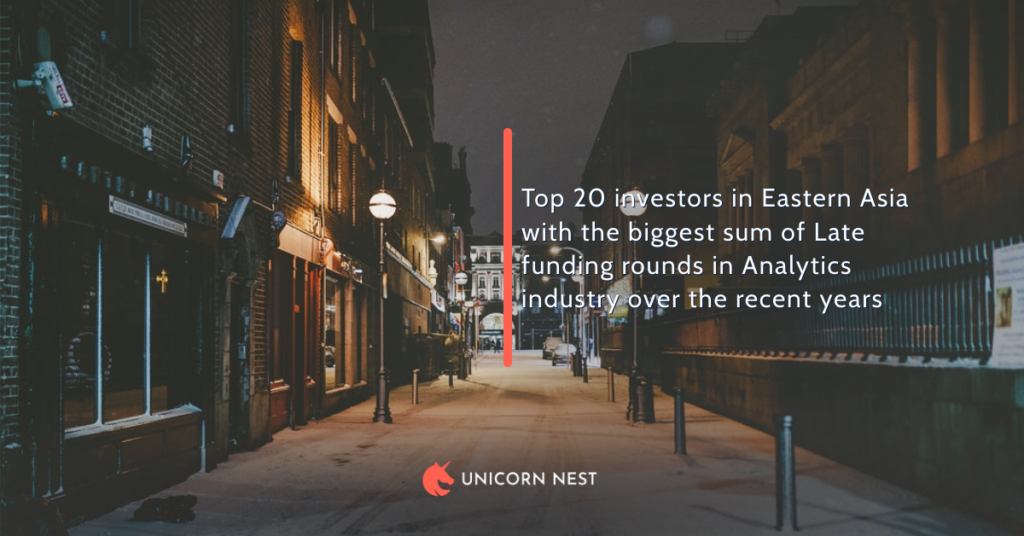 Top 20 investors in Eastern Asia with the biggest sum of Late funding rounds in Analytics industry over the recent years
