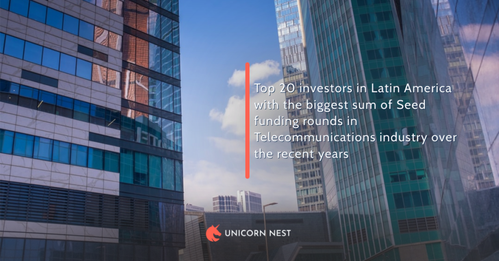 Top 20 investors in Latin America with the biggest sum of Seed funding rounds in Telecommunications industry over the recent years