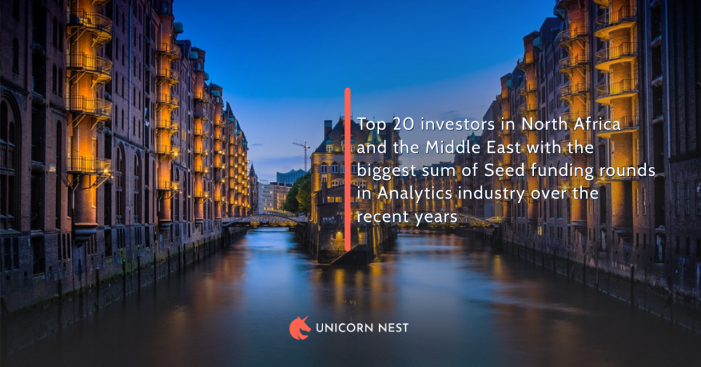 Top 20 investors in North Africa and the Middle East with the biggest sum of Seed funding rounds in Analytics industry over the recent years
