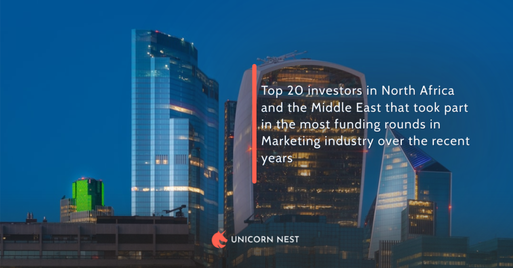 Top 20 investors in North Africa and the Middle East that took part in the most funding rounds in Marketing industry over the recent years