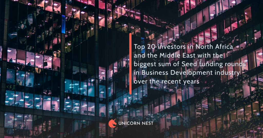 Top 20 investors in North Africa and the Middle East with the biggest sum of Seed funding rounds in Business Development industry over the recent years