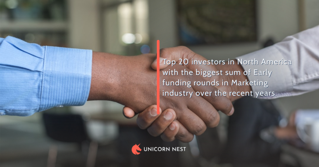 Top 20 investors in North America with the biggest sum of Early funding rounds in Marketing industry over the recent years