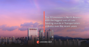 Top 20 investors in North America with the biggest sum of Late funding rounds in Transportation industry over the recent years