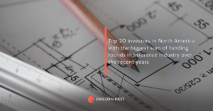 Top 20 investors in Insurance industry in North America by the sum of funding rounds over the recent years