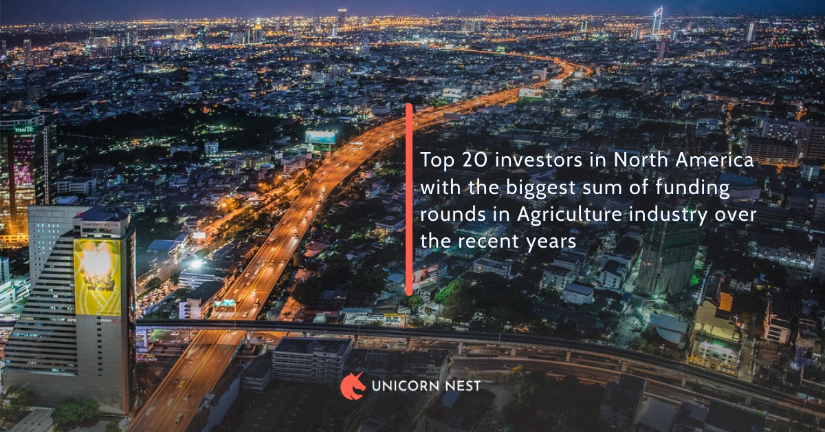 Top 20 investors in North America with the biggest sum of funding rounds in Agriculture industry over the recent years