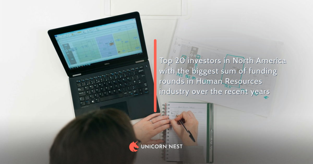 Top 20 investors in North America with the biggest sum of funding rounds in Human Resources industry over the recent years