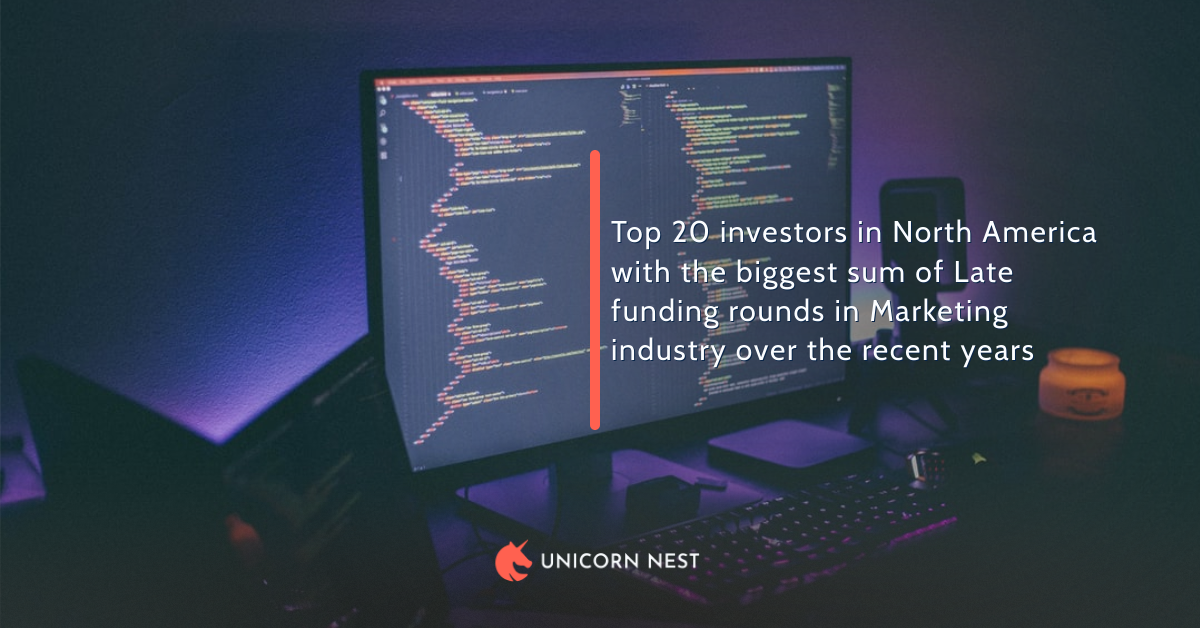 Top 20 investors in North America with the biggest sum of Late funding rounds in Marketing industry over the recent years