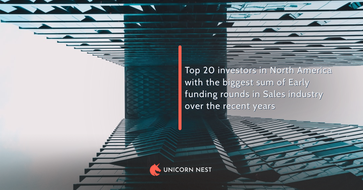 Top 20 investors in North America with the biggest sum of Early funding rounds in Sales industry over the recent years