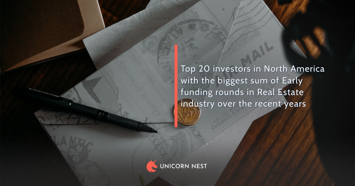Top 20 investors in North America with the biggest sum of Early funding rounds in Real Estate industry over the recent years
