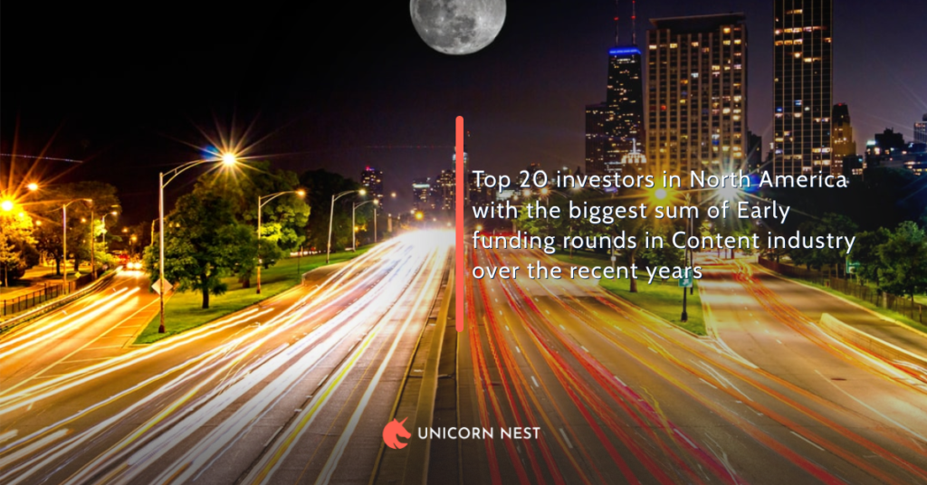 Top 20 investors in North America with the biggest sum of Early funding rounds in Content industry over the recent years
