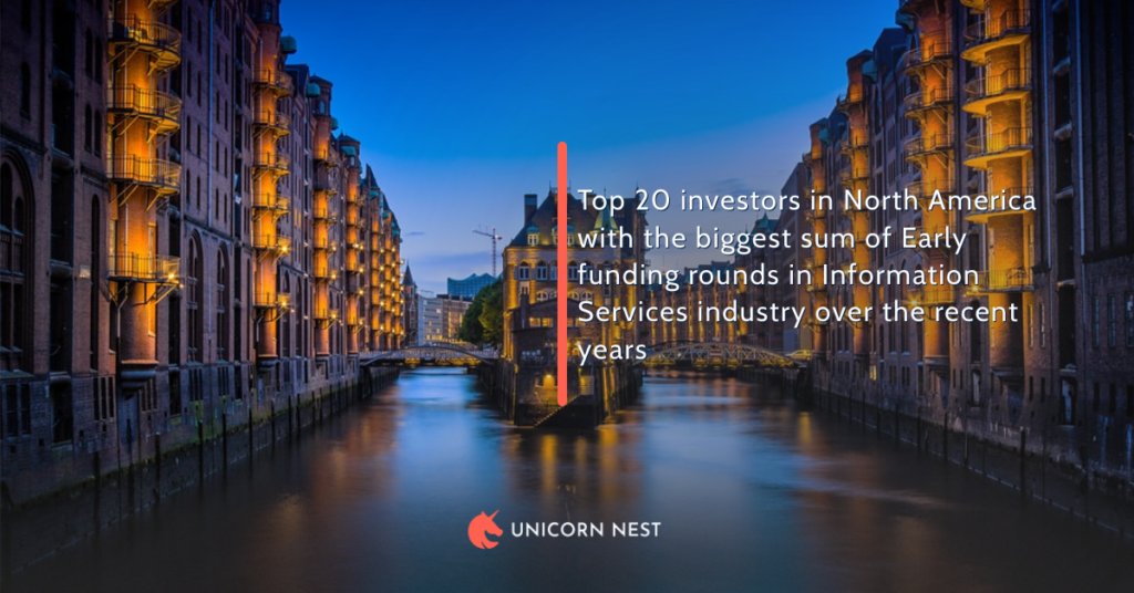 Top 20 investors in North America with the biggest sum of Early funding rounds in Information Services industry over the recent years